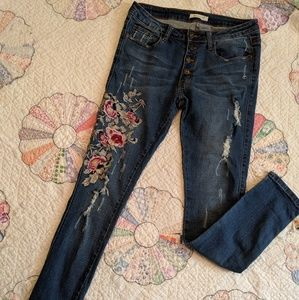 Machine Embroidered Floral Button Up Skinny Jeans